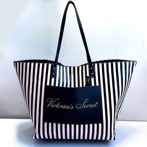 Victoria's Secret Black & Pink Stripe Tote Bag